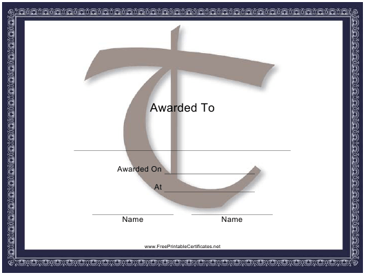 """Centered T Monogram Certificate Template"" Download Pdf"
