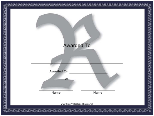 """Centered R Monogram Certificate Template"" Download Pdf"