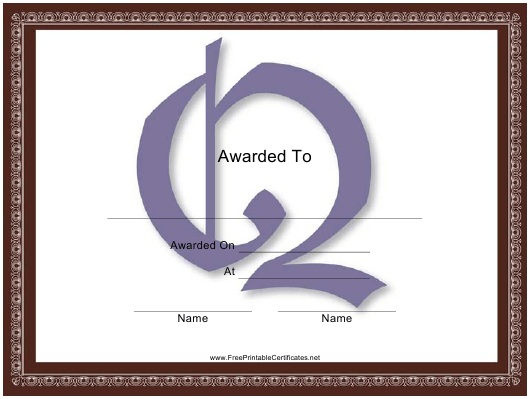 """Centered Q Monogram Certificate Template"" Download Pdf"