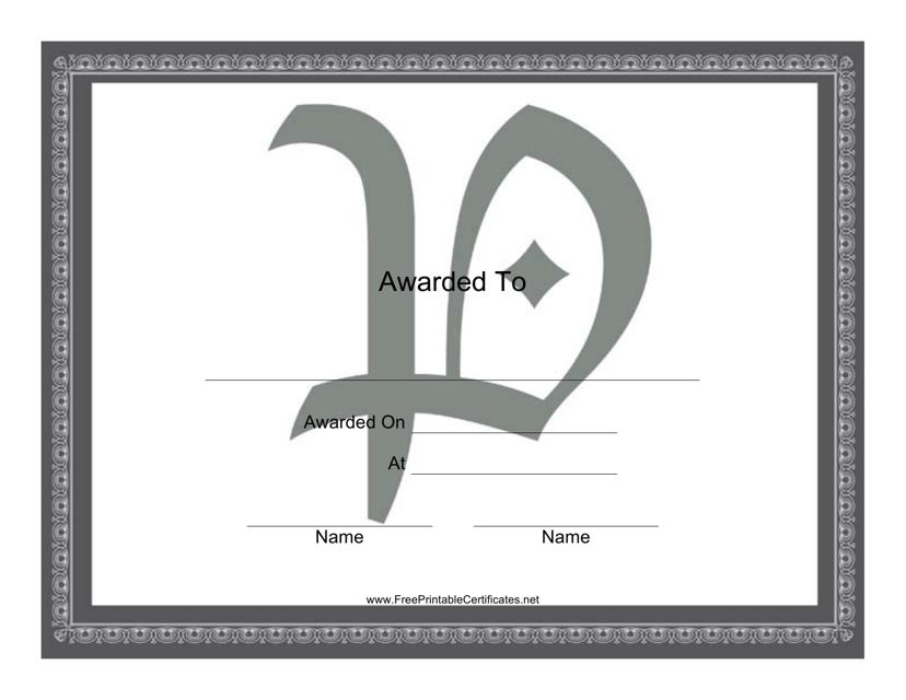 """Centered P Monogram Certificate Template"" Download Pdf"