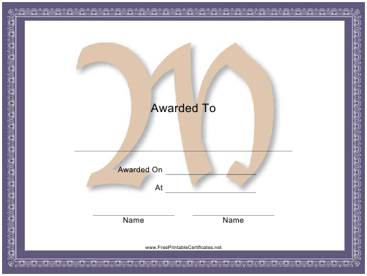 """Centered M Monogram Certificate Template"" Download Pdf"