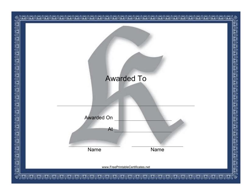 """Centered K Monogram Certificate Template"" Download Pdf"