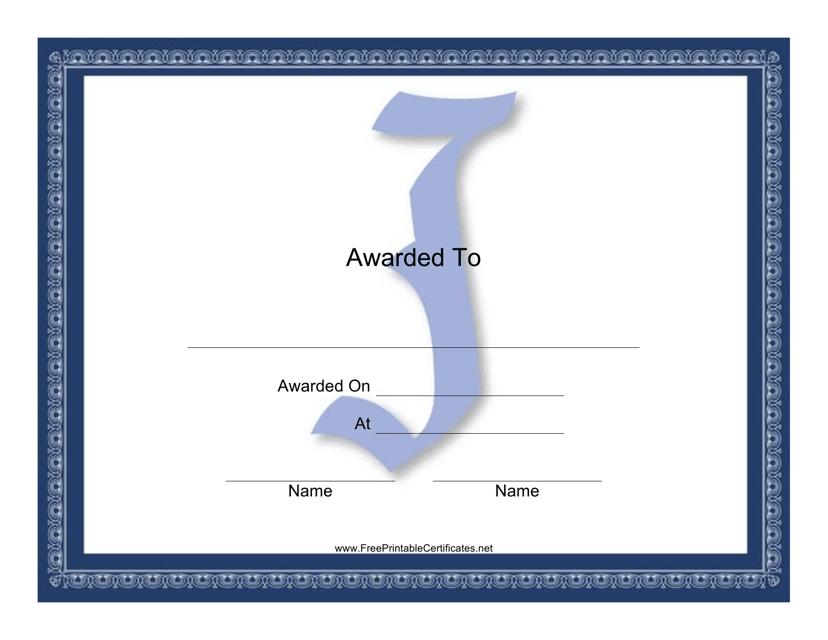 """Centered J Monogram Certificate Template"" Download Pdf"