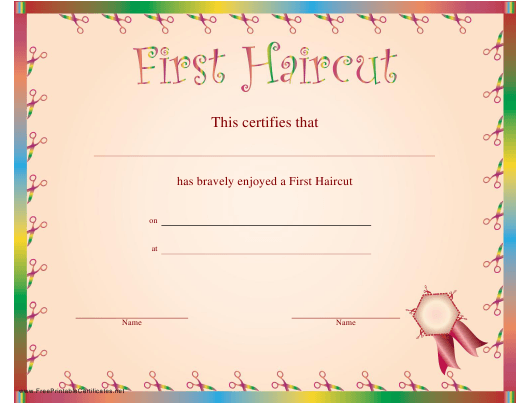 """First Haircut Certificate Template"" Download Pdf"