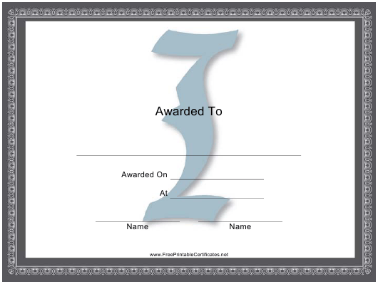 """Centered I Monogram Certificate Template"" Download Pdf"