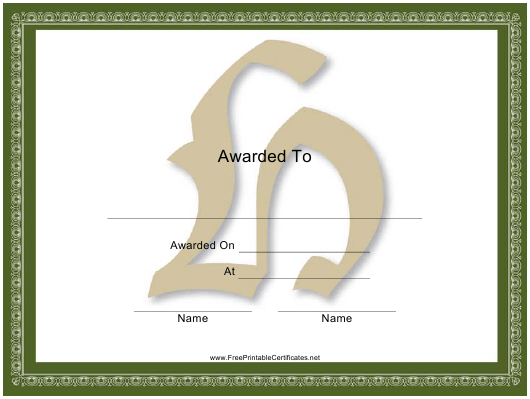 """Centered H Monogram Certificate Template"" Download Pdf"