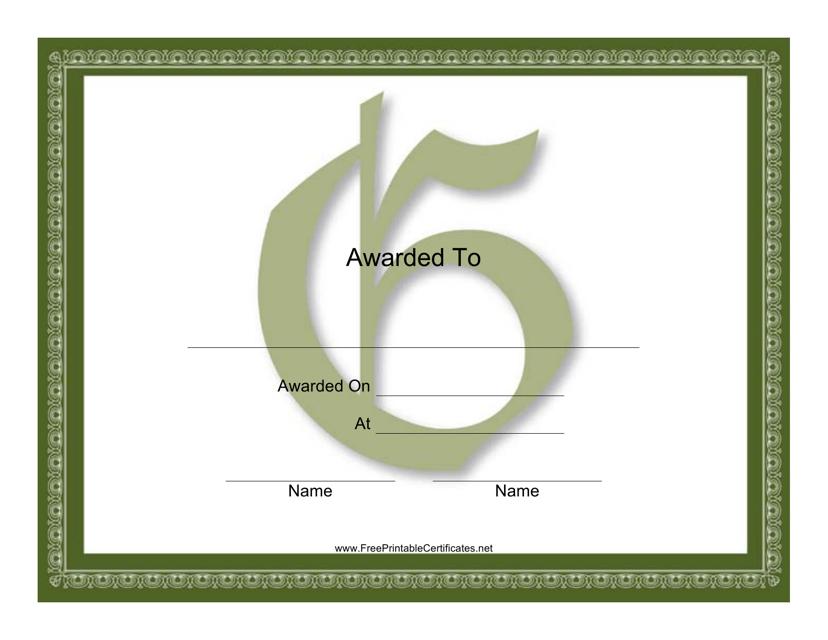 """Centered G Monogram Certificate Template"" Download Pdf"