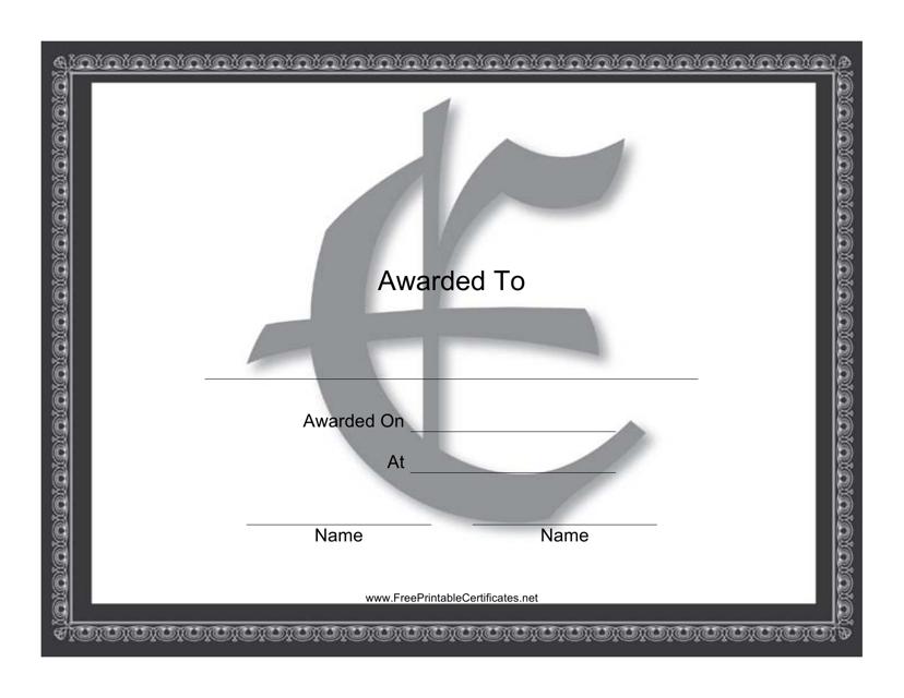 """""""Centered E Monogram Certificate Template"""" Download Pdf"""