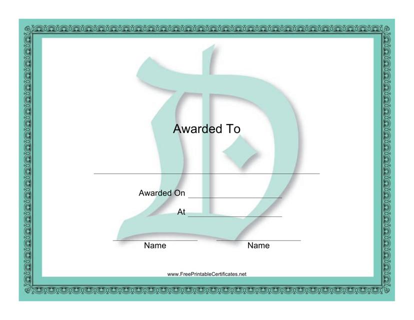 """Centered D Monogram Certificate Template"" Download Pdf"