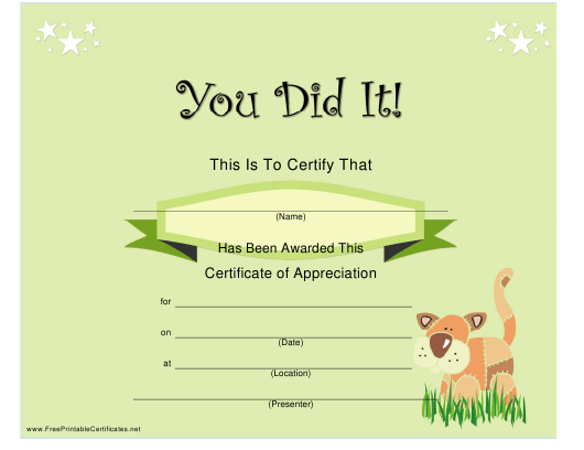 """Green Certificate of Appreciation Template"" Download Pdf"