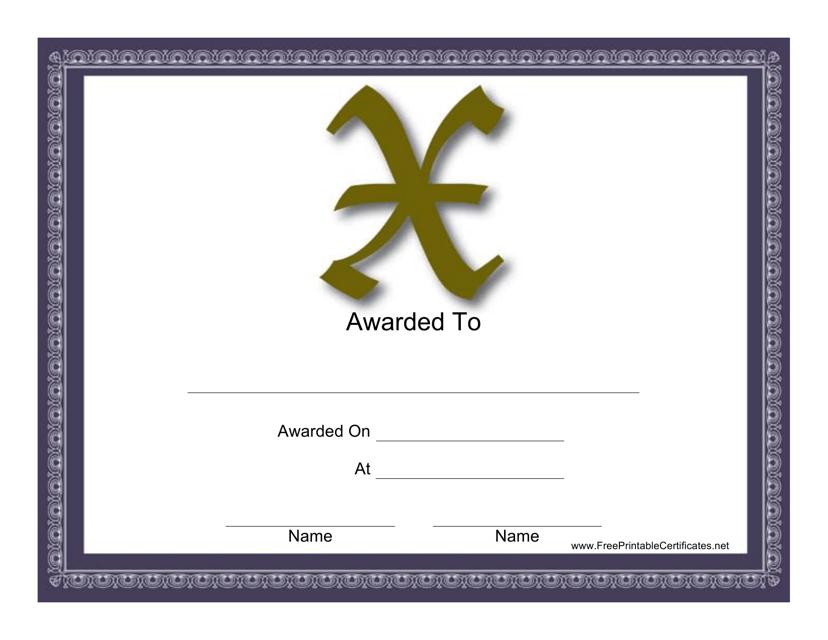 """X Monogram Certificate Template"" Download Pdf"
