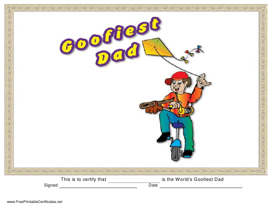 """Goofiest Dad Certificate Template"" Download Pdf"