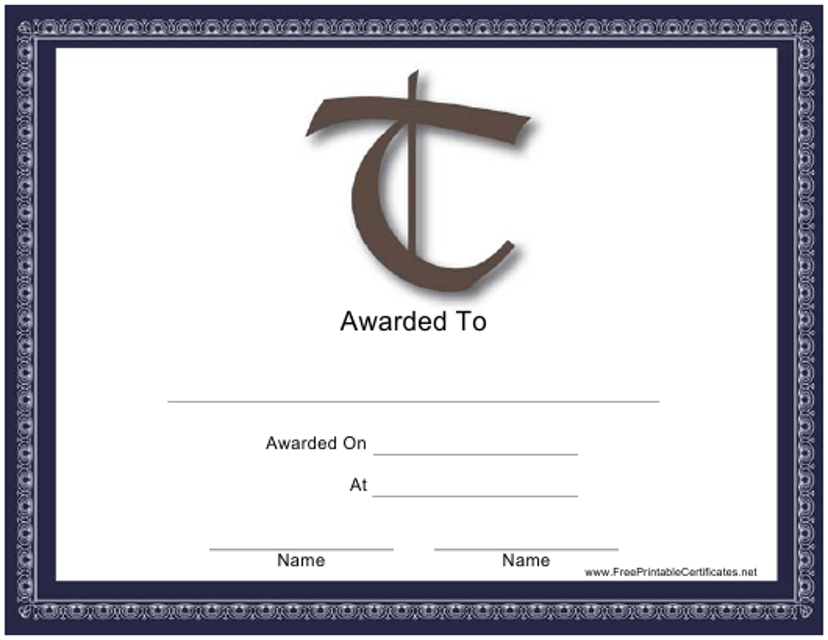 """""""T Monogram Certificate Template"""" Download Pdf"""