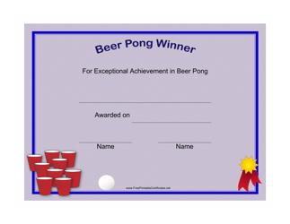 """Beer Pong Winner Certificate Template"""