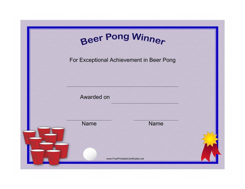 """Beer Pong Winner Certificate Template"" Download Pdf"