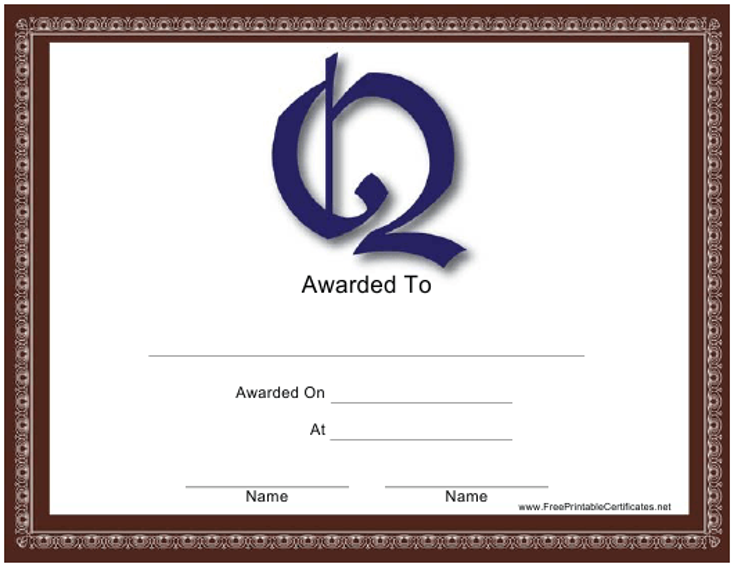 """Q Monogram Certificate Template"" Download Pdf"