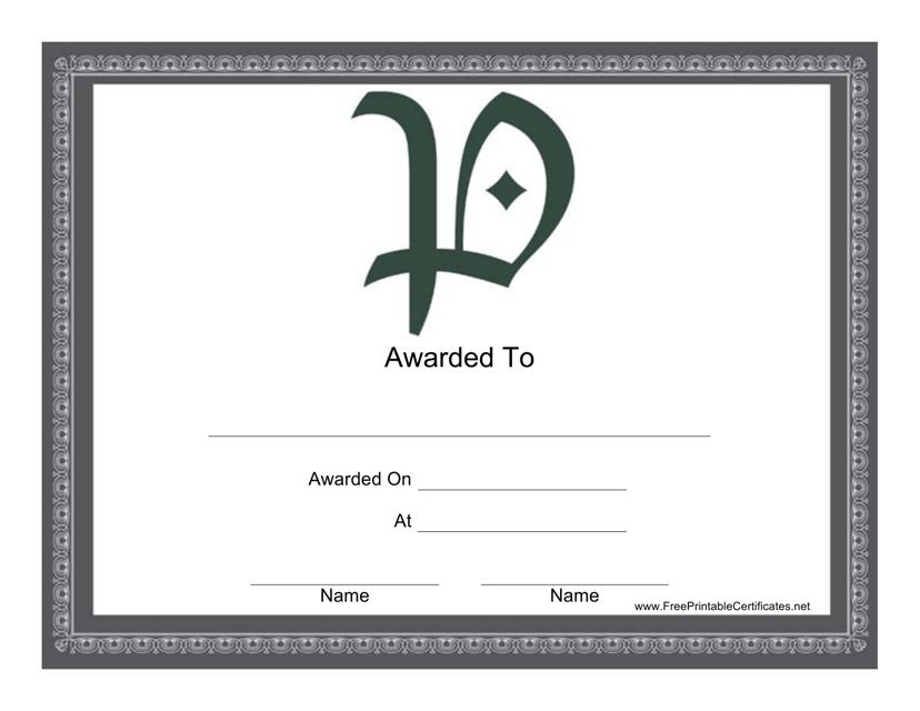 """""""P Monogram Certificate Template"""" Download Pdf"""