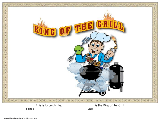 """""""King of the Grill Certificate Template"""" Download Pdf"""
