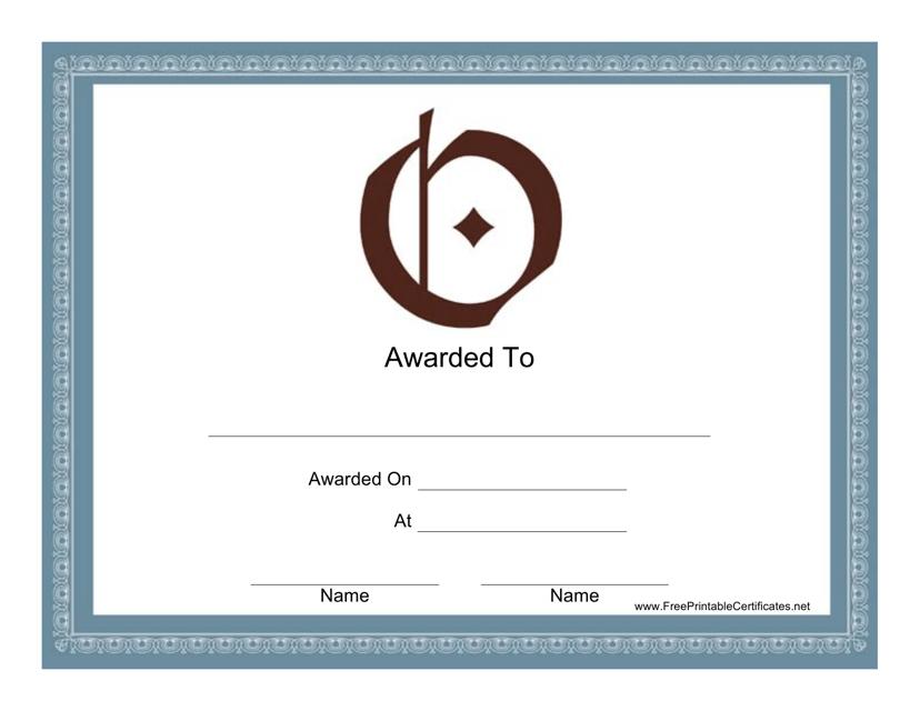 """O Monogram Certificate Template"" Download Pdf"