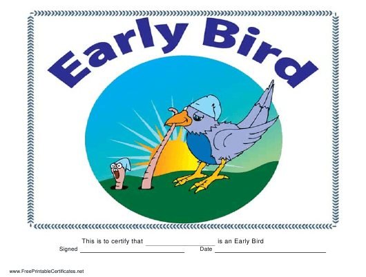 """Early Bird Certificate Template"" Download Pdf"