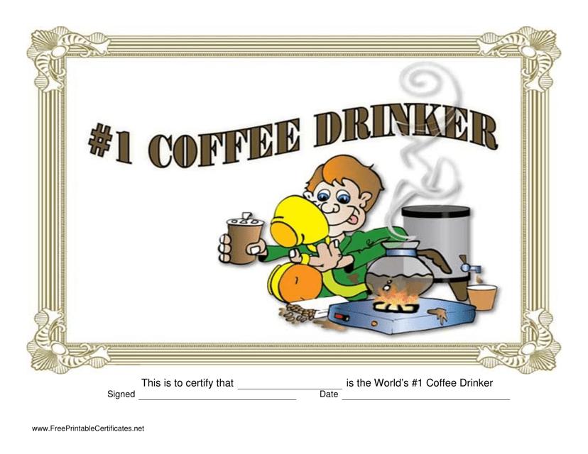 """Number 1 Coffee Drinker Certificate Template"" Download Pdf"