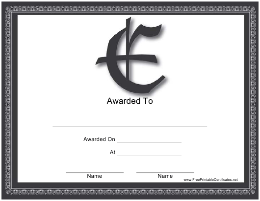 """""""E Monogram Certificate Template"""" Download Pdf"""