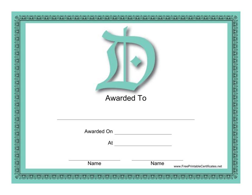 """""""D Monogram Certificate Template"""" Download Pdf"""