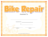 """Bike Repair Award Certificate Template"""