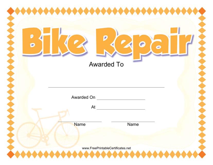 """""""Bike Repair Award Certificate Template"""" Download Pdf"""