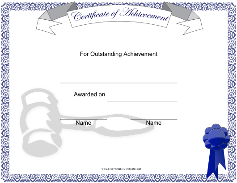 """Outstanding Achievement Certificate Template"" Download Pdf"