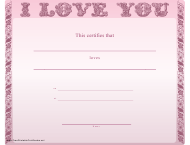 """Love You Certificate Template - Pink Background"""