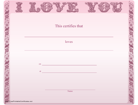 """""""Love You Certificate Template - Pink Background"""" Download Pdf"""