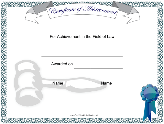 """Field of Law Achievement Certificate Template"" Download Pdf"