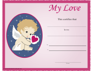 """My Love Cupid Certificate Template"""