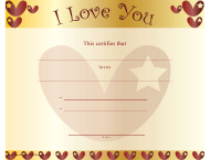 """Love You Certificate Template - Hearts"""