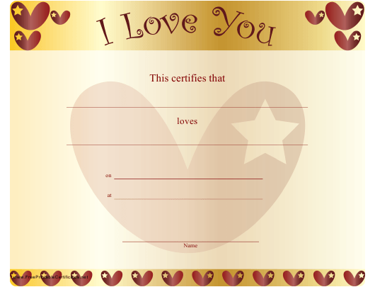 """Love You Certificate Template - Hearts"" Download Pdf"