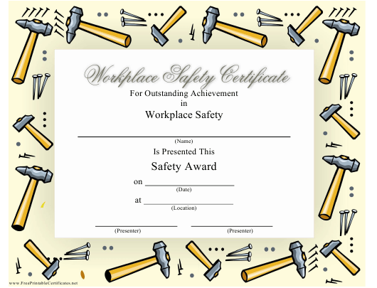 """""""Workspace Safety Certificate Template"""" Download Pdf"""
