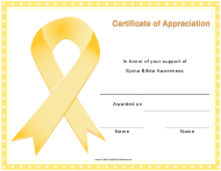 """Spina Bifida Awareness Certificate of Appreciation Template"""