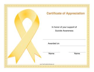 """""""Suicide Awareness Certificate of Appreciation Template"""""""