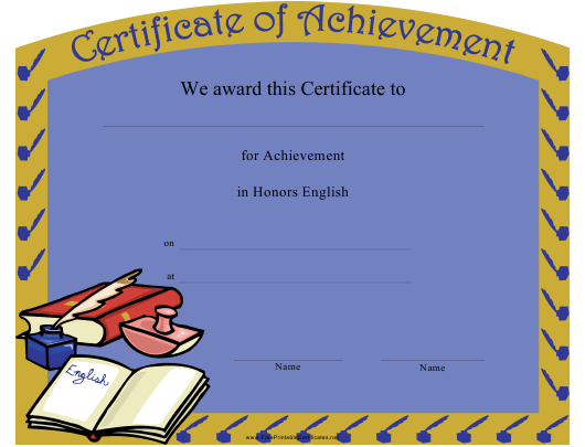 Honors English Certificate of Achievement Template Download Pdf