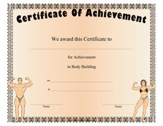 """Body Building Certificate of Achievement Template"""