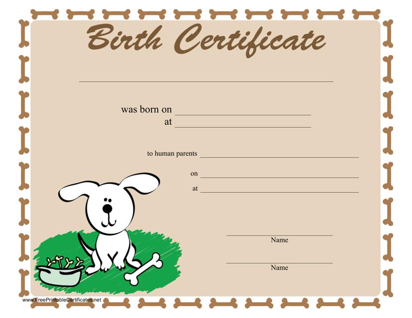 """Dog Birth Certificate Template"" Download Pdf"
