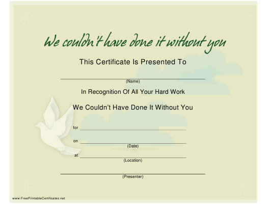 """""""Hard Work Certificate of Recognition Template - Dove"""" Download Pdf"""