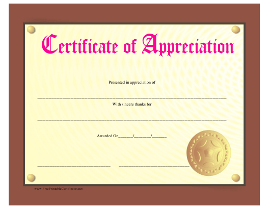 """Golden Certificate of Appreciation Template"" Download Pdf"