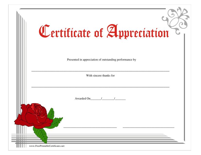 """Certificate of Appreciation Template - Rose"" Download Pdf"
