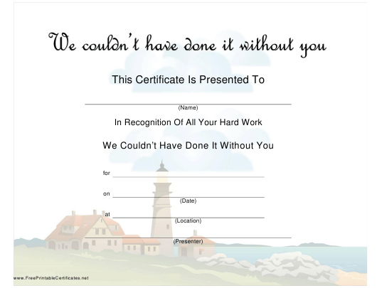 """""""Hard Work Recognition Certificate Template"""" Download Pdf"""