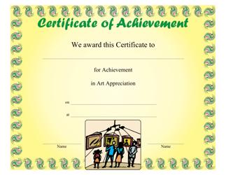 """""""Art Appreciation Achievement Certificate Template"""""""