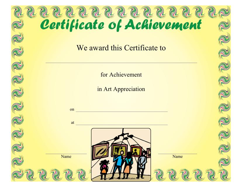 """Art Appreciation Achievement Certificate Template"" Download Pdf"
