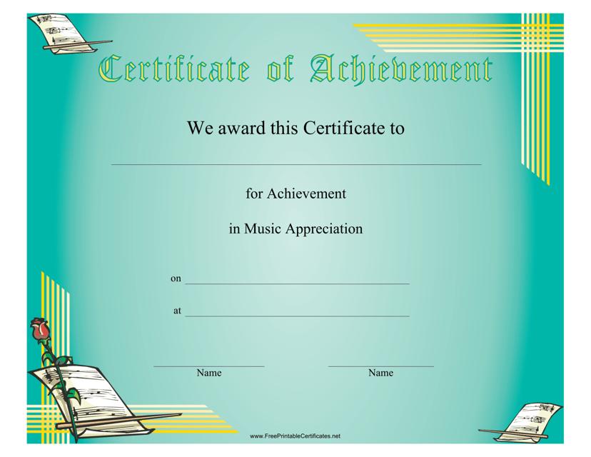 """Music Appreciation Certificate of Achievement Template"" Download Pdf"