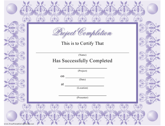 """""""Lilac Project Completion Award Certificate Template"""" Download Pdf"""